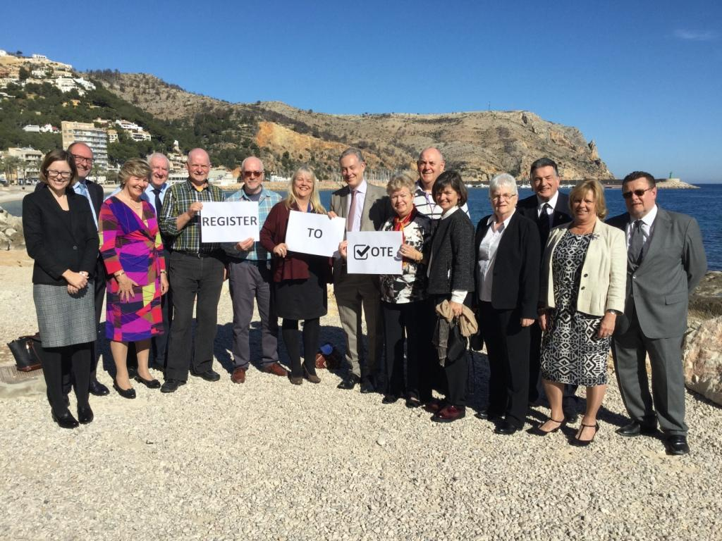 British Ambassador Simon Manley (centre) and expat community representatives gathered in Javea, Alicante province, to urge expats to Register to Vote.