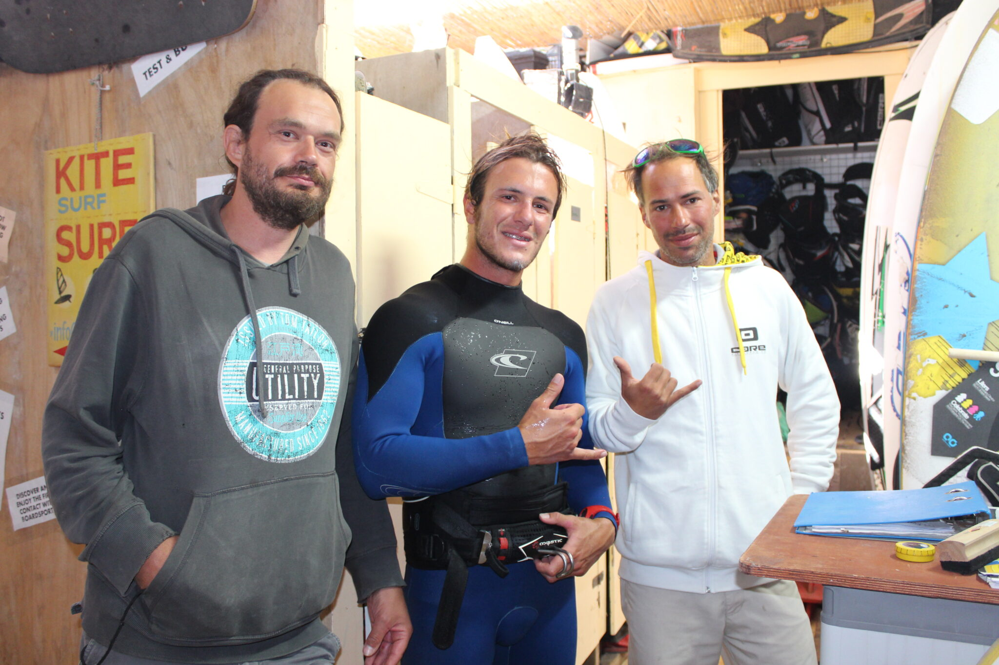 Mike, Peter and The Surfer in Red Rock Kite & Surf Academy